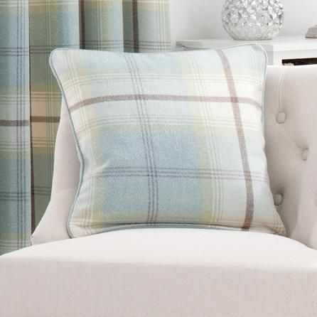 Designed With A Tartan Style Pattern Duck Egg Blue This Square Cushion Is Filled Feather And Features Removable Cover Finished Piped Edging
