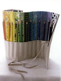 #Colorful Rainbow Colored Pencil Rolled Up Case