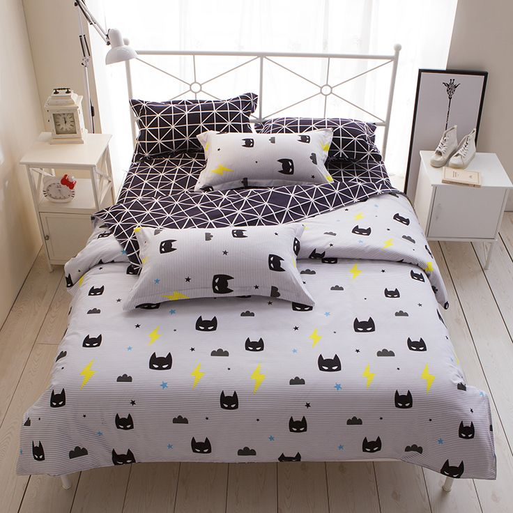 Cheap 4pcs bedding set, Buy Quality bed set directly from China bedding set Suppliers: Cartoon Stripe Batman 3/4pcs bedding sets/bed set/bedclothes for kids/bed linen Duvet Cover Bed sheet Pillowcase,twin full queen