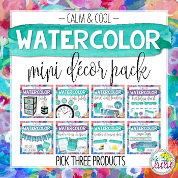 This product listing is for your choice of 3 of the following decor items---Calm & Cool Watercolor Name Tags--Calm & Cool Watercolor Binder Covers & Spines--Calm & Cool Watercolor Classroom Banner--Calm & Cool Watercolor Weather & Seasons Chart--Calm & Cool Word Wall Headers--Calm & Cool Clock Labels--Calm & Cool Birthday ChartHow It Works:Your download will include instructions to customize your order.