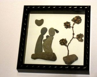 Gift for Family Family of four Pebble Art by PebbleSimplicity