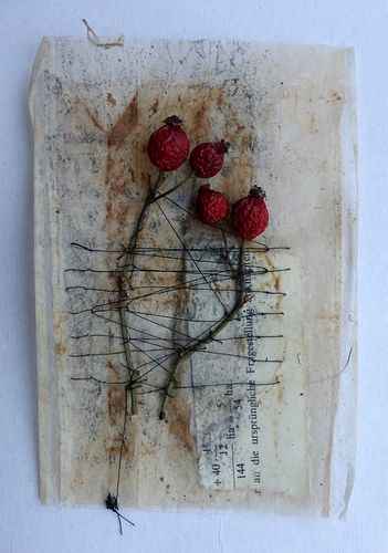 Tea bag, rose hips and threads... maybe even red threads. In my mind's eye, I see a 'background' poem or story...