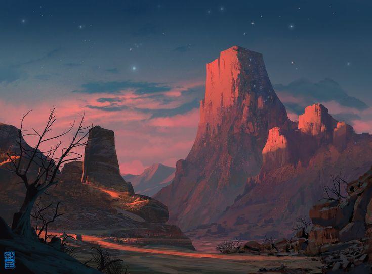 Starry Mountain, Josh Hutchinson on ArtStation at https://artstation.com/artwork/starry-mountain