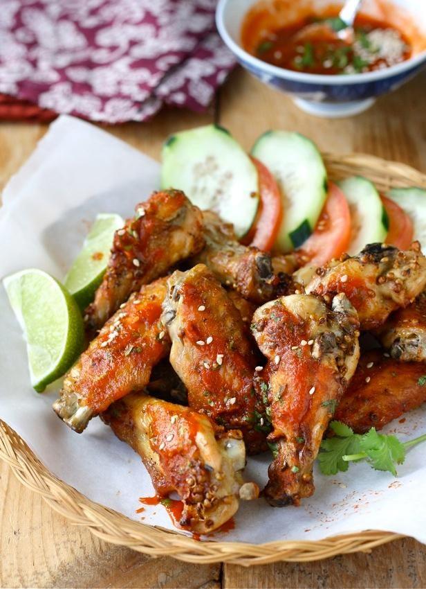 Chicken Recipes Spicy Sesame Sriracha Chicken Wings recipe