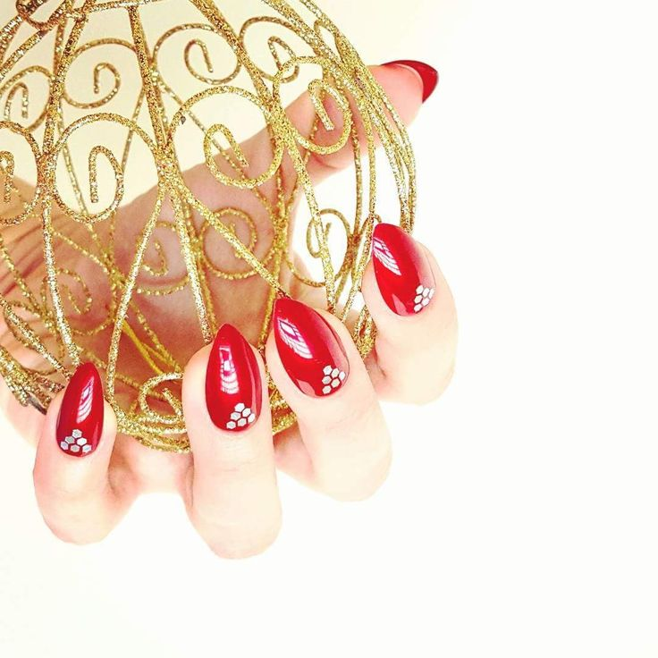 New Years Eve Nails, Handmade Reusable Red and Silver