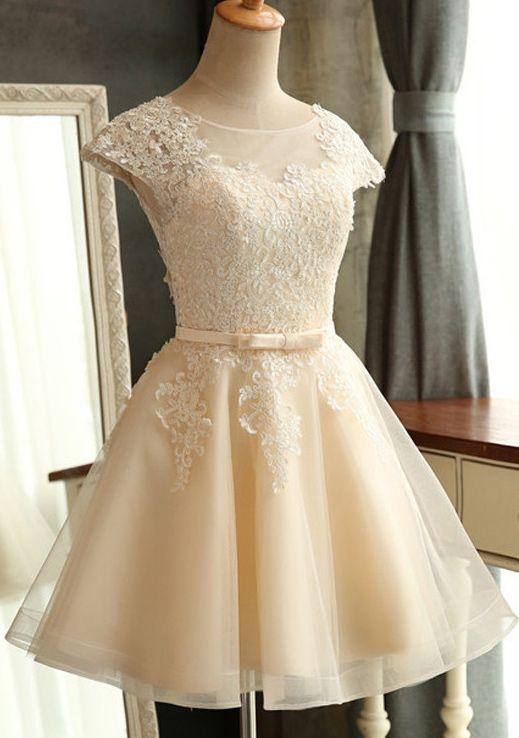 Homecoming Dress,Lace Homecoming Dresses,Short Prom Gown,Champagne Homecoming Gowns,2016 Homecoming Dress,Ball Gown Homecoming Dresses,2016 Sweet 16 Dress For Teens