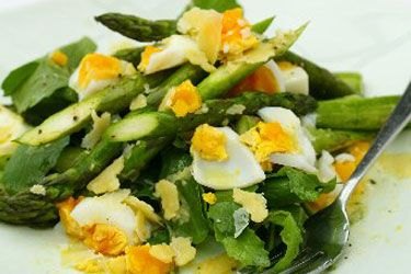 Asparagus, soft boiled egg and parmesan with dijon vinaigrette