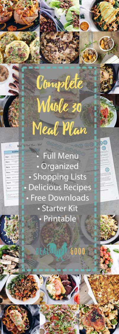 It's a complete Whole30 meal plan with everything you need to make your Whole30 a success! Includes a starter kit and printable recipes and shopping lists for each week. Easy to follow Whole30 meal plan with delicious recipes.