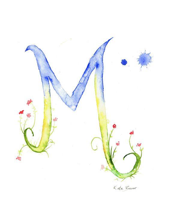 Letter M - Watercolor Monogram - Flower Lettering - Watercolor Letter Print - Watercolor Initial