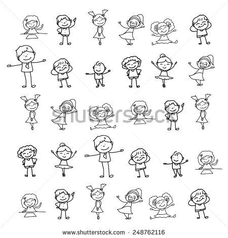 hand drawing cartoon character kids playing illustration