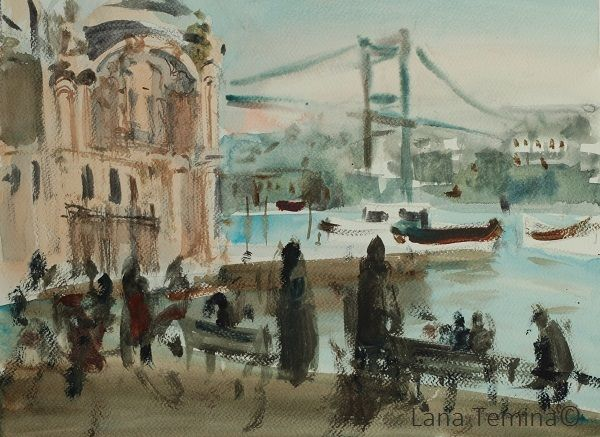 Evening in Ortakoy. Watercolo by Lana Temina  #watercolor #painting #art #istanbul