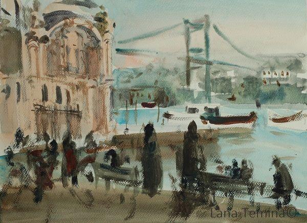 Evening in Ortakoy. Watercolo by Lana Temina  #watercolor #painting #art #istanbul