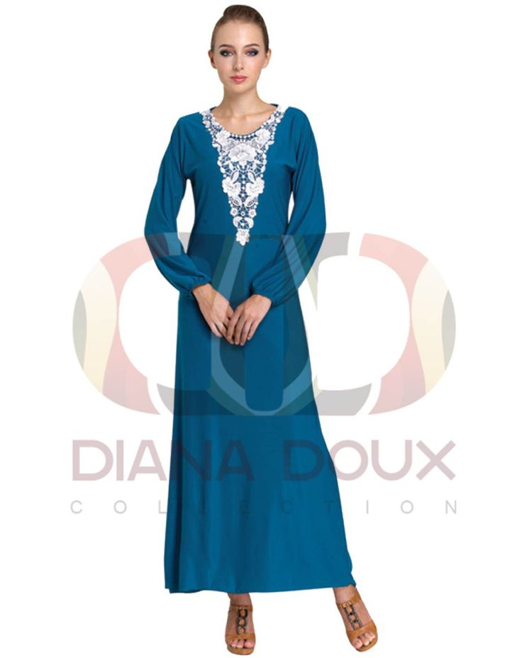 OWJ123-38  Floral Lace Crochet Collar Jubah Dress  Color: BLUE Size: FREE SIZE Weight: 430g Material: Lace + Lycra Measurement: > Shoulder: 35cm  > Sleeve: 58cm  > Length: 130cm  > Bust: 84-100cm Category: Jubah Dress Type: Ready Stock