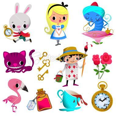 Alice in Wonderland. Part I. Royalty Free Stock Vector Art Illustration