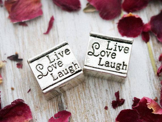 Name:live love laugh large hole beads Color:antique silver Material: mixed metal Size: approx. 14mm x 13mm, hole size approx. 4mm Sold as: set of2 === Flat Rate Shipping USA & Canada, and International. Browse our gemstone collection: