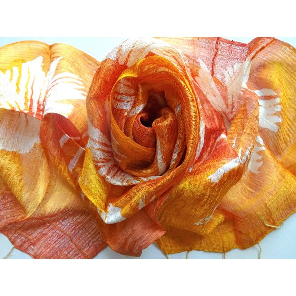 Orange Silk Scarf Hand Dyed Handwoven Light Weight Batik Natural Pure Raw Silk Wedding Accessories Handmade Wedding Gift For Her (€15) found on Polyvore featuring women's fashion, accessories, scarves, lightweight scarves, batik scarves, pure silk scarves, silk shawl and orange scarves