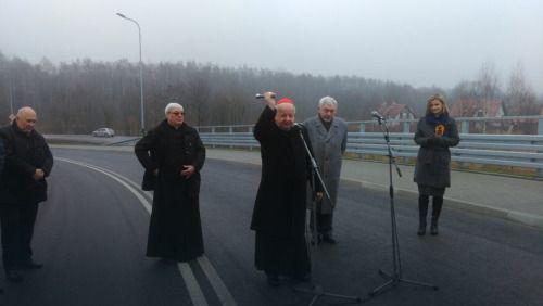 Polish cardinal blessing a new road. Łagiewniki, 2015.