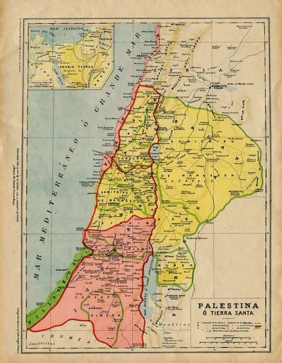 1905 Vintage Map of Palestine or the Holy Land by CarambasVintage