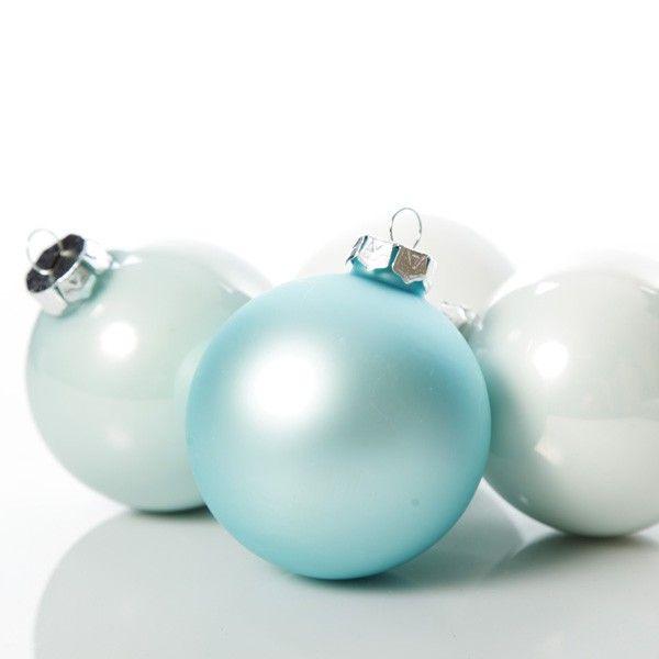 Baby Blue and White Glass Baubles - Set of 4