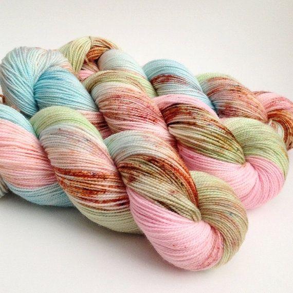 Hand Dyed Yarn  Emily  High Twist Sock Yarn by aVividYarnStudio