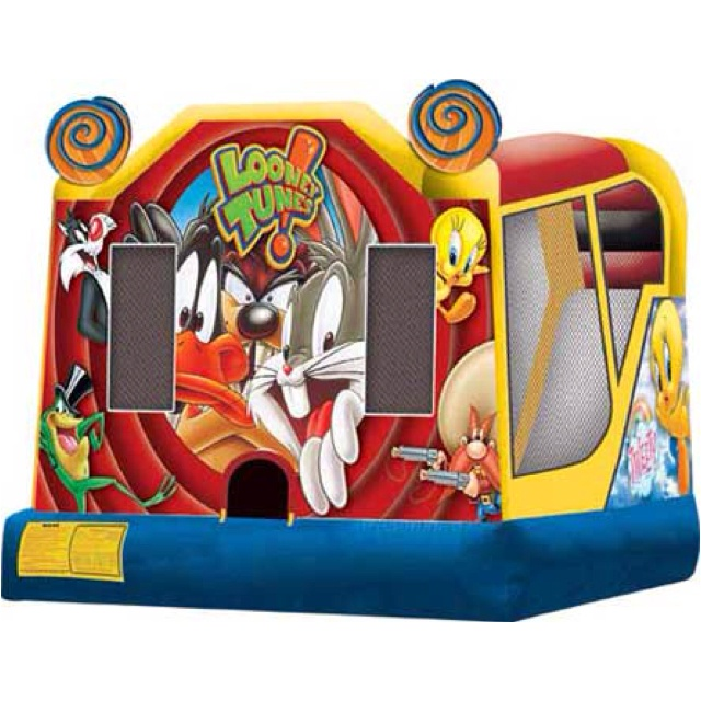 Looney Tunes C4 Combo The licensed, Looney Tunes C4 combo bouncy castle brings the wacky antics of Bugs and pals to your event! The lively artwork features Bugs Bunny, Daffy Duck, Sylvester the Cat, Wile E. Coyote, Tasmanian Devil and sweet little Tweety bouncing away and letting loose. Players have the choice of four gleeful activities, even a slick climb and slide that can be used wet or dry. This C4 bounce house combo offers up to four different activities for endless hours of activity…