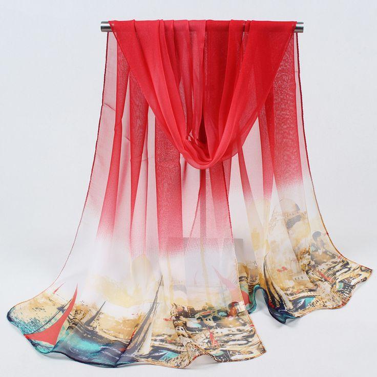 2017 Summer New arrival Fashion Chiffon scarves Print Gradient colors georgette female silk scarves FZ046 #Affiliate