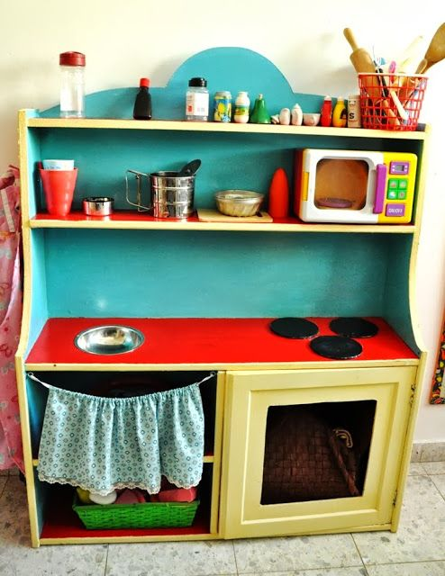 A great imaginative play idea for home from IKEA Hackers: IKEA Cupboard Turned Children Play Kitchen