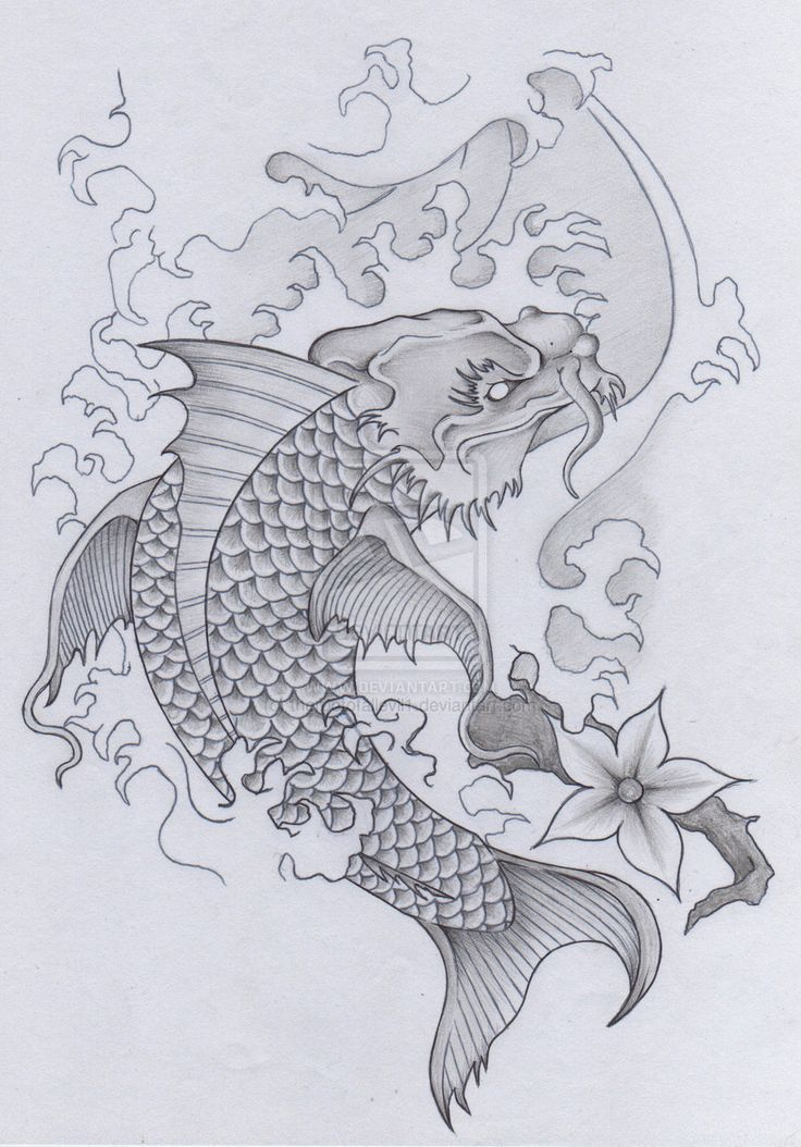 Japanese Koi Dragon Tattoo (skull samurai Pt 2) by therootofallevil1.deviantart.com on @deviantART