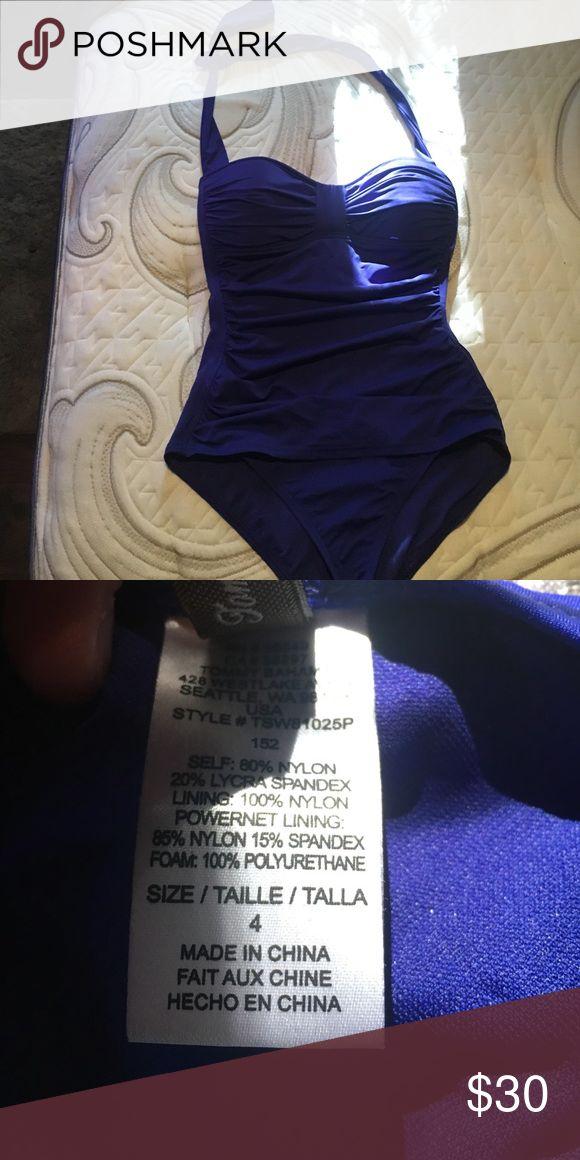 Blue one piece bathing suit NEW! Never worn. Blue one piece. Halter top Swim One Pieces