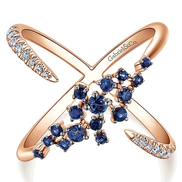 14k Pink Gold Lusso Color Style Fashion Ladies' Ring With Diamond With And Sapphire.
