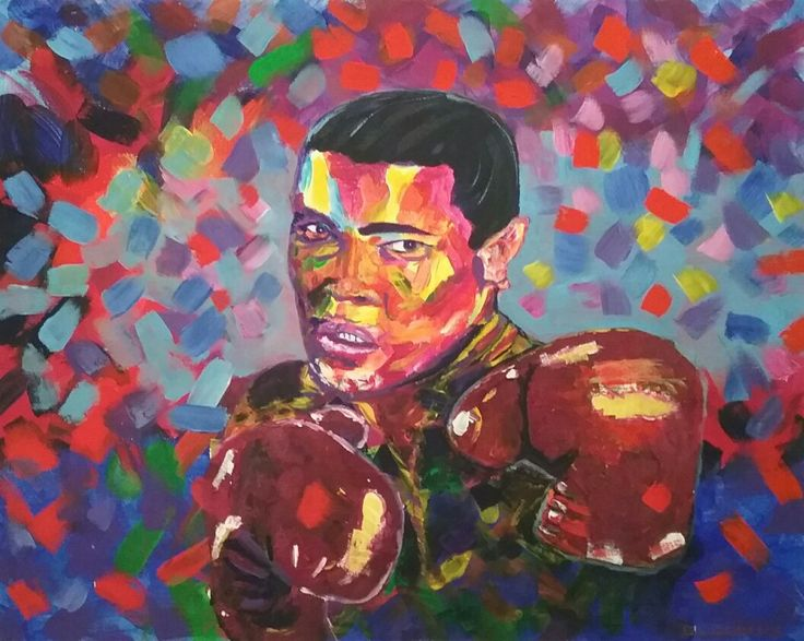 """Mohamed Ali, acrylic on stretched canvas 16"""" x 20"""""""
