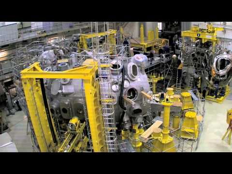 Time lapse: Assembly of Wendelstein 7-X -  The assembly of the Wendelstein 7-X fusion device from 2005 until 2014 is condensed into three minutes. The device at Max Planck Institute for Plasma Physics in Greifswald/Germany comprises five large and almost identical modules, which were preinstalled and then assembled in a circle in the experimentation hall. Wendelstein 7-X is to show that fusion devices of the stellarators type are suitable for power plants.