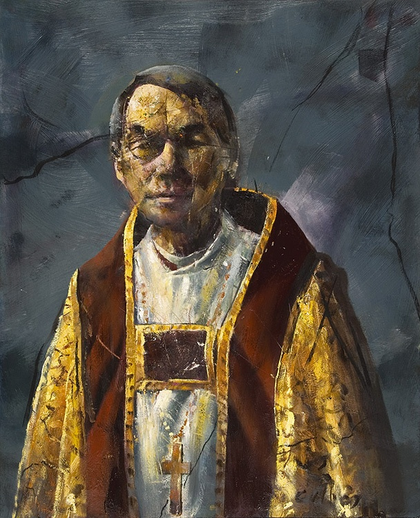 Håkon Gullvåg (Norwegian artist, b 1959). Portrait of Oslo´s bishop, Gunnar Stålsett