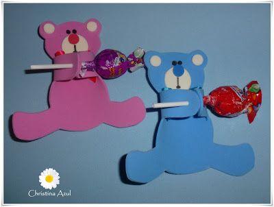 """Christina Azul: Porta pirulito """"Ursinho"""" em EVA"""