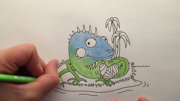 Watch me draw an Injured Iguana Itching Itself on an Island, words that start with the letter I.