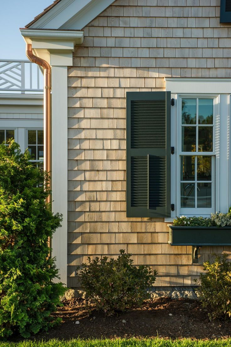 "Cedar shake shingle gives the home a lovely textured look. ""Those will all age naturally to a wonderful gray, weathered look,"" says Linda.  #HGTVDreamHome"