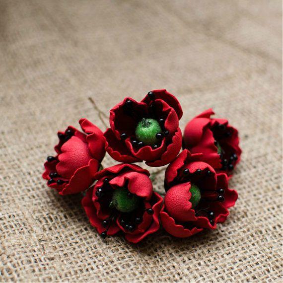 Red Poppy Foam Flowers 6 pcs Poppy Flower Jewelery making
