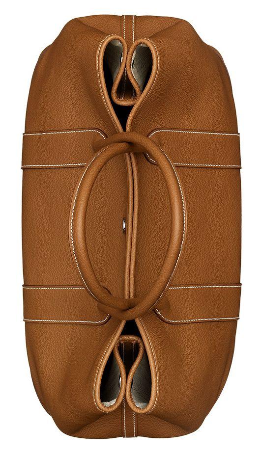 Hermes Garden Party Handbag in Gold Negonda Calfskin Leather. Top Overhead View.