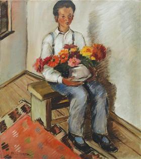Little Gardener (Portrait of Constantin) - Micaela Eleutheriade