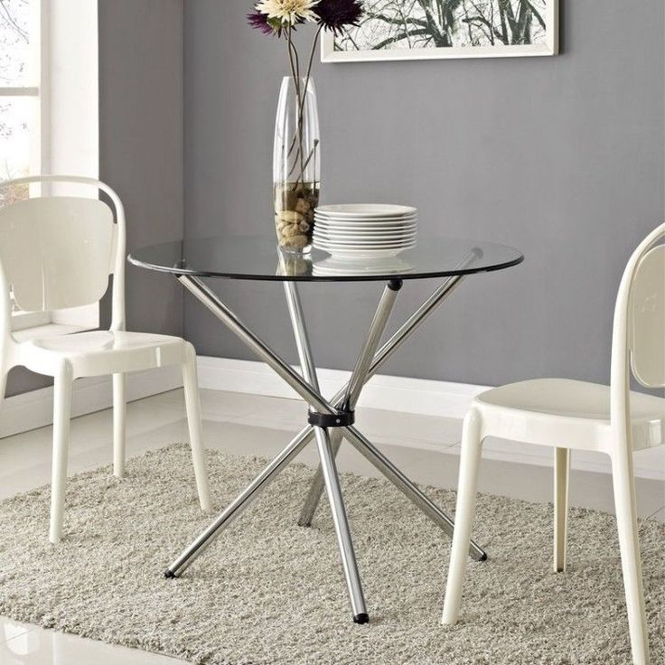 Glass Round Dining Table Modern Chrome Steel Coffee Breakfast Kitchen Furniture #GlassRoundDiningTable #Modern