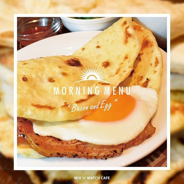 "MORNING MENU ""Bacon&Egg"" #naan #morning #bacon #egg #instafood #instacafe #instamorning #naanpizza #pizza #naanroll #roll #tokyo #yotsuya #cafe #coffee #mumbai #india #ナン #ナン専門店  #ナンピザ #四ツ谷 #ムンバイ #モーニング #カフェ #朝食 #ピザ"