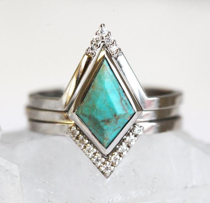Turquoise Bohemian Ring Set, Kite Turquoise Ring Set