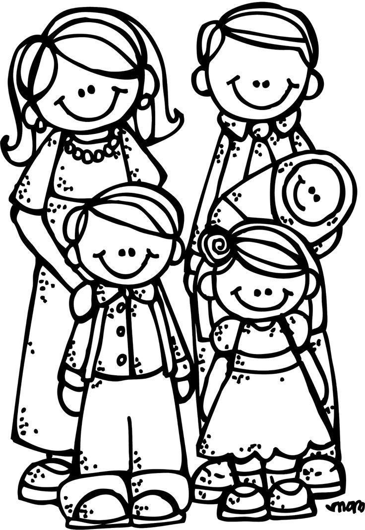 Coloring Page Of Family Family Clipart Family Coloring Pages Family Clipart Black And White