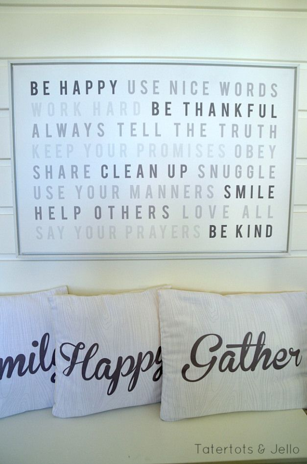 Free Family Rules printables using Shutterfly and printed on their framed canvases.