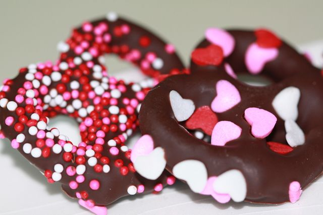 Pretzels bañados en chocolate