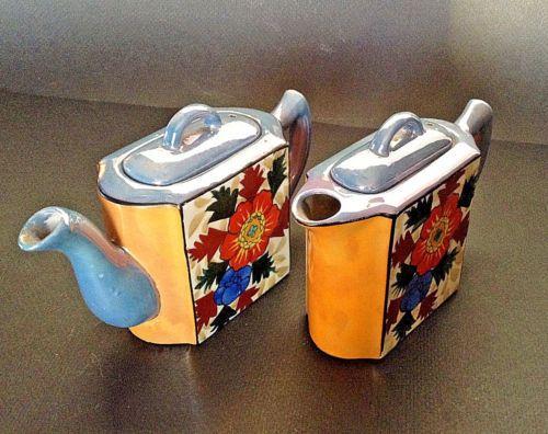 Two-Single-Serve-Teapots-Unusual-Rectangular-Shape-Hand-Painted-Lustre-Japan