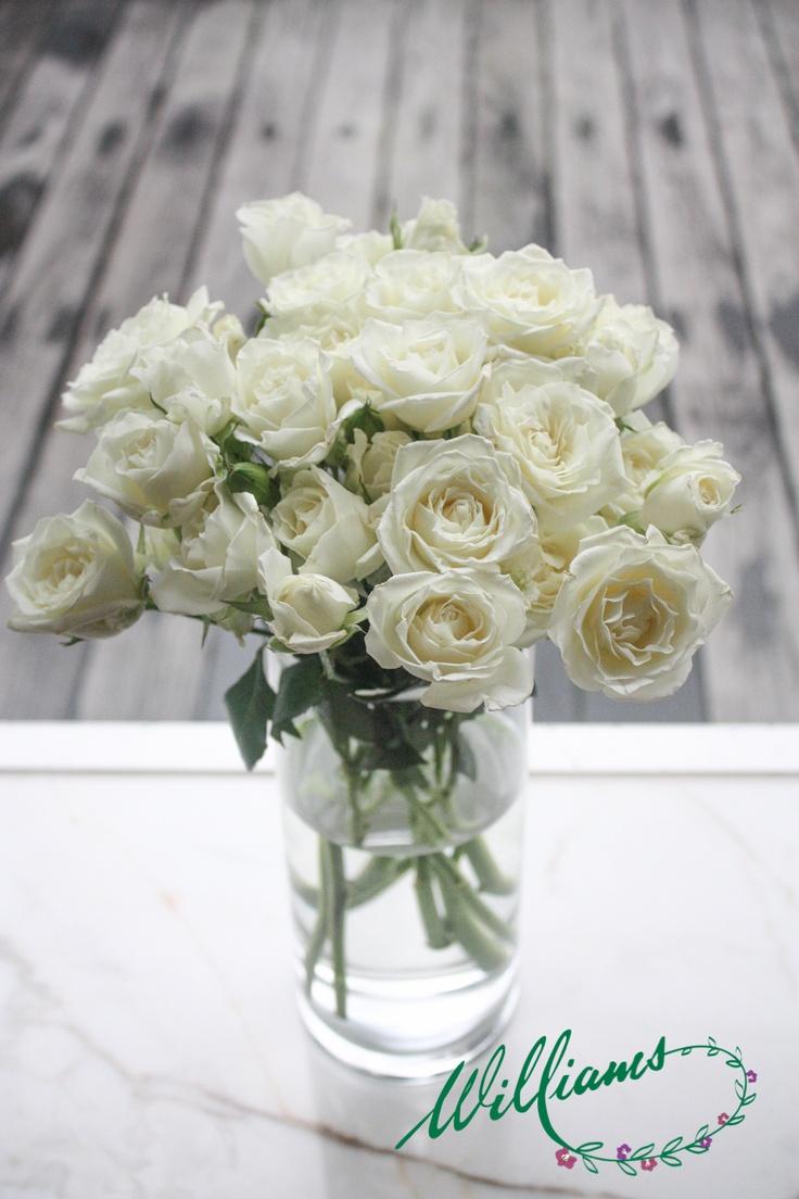 Miniature White Spray Roses.