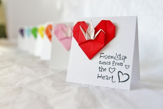 Peace Crane Heart Friendship Cards with by WestCoastOrigami, $7.00