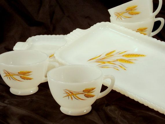 Fire King Anchor Hocking Wheat pattern Milk by Vintiquesandmore ~Classic and timeless pattern