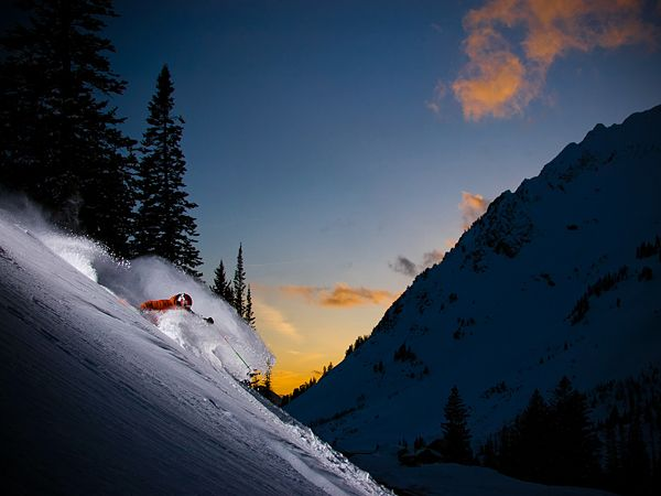 Beautiful Sunset Skiing in Utah!    Photograph by Erik Seo
